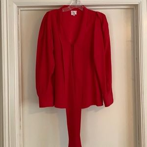 Red Silk Parker Blouse